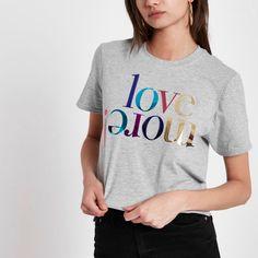 Grey 'love more' foil print T-shirt - Plain T-Shirts / Vests - T-Shirts & Vests - Tops - women