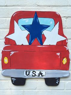 Patriotic Pick Up Truck USA July Fourth Wooden Door Hanger Personalized - Lilly is Love Painted Doors, Wooden Doors, Painted Signs, Pick Up, Painting Burlap, Tole Painting, Diy Painting, Burlap Door Hangers, 4th Of July Decorations