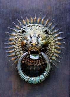 Vintage Doors With Door Knockers | lions # gold # door knocker