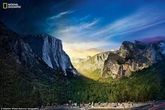 The sun shines through California's Yosemite Valley, where John Muir once said 'nature's peace will flow into you as sunshine into trees'