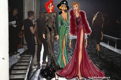Disney Princesses wearing #ZuhairMurad latest collection by #LilyFashionSketch #DisneyPrincessesGoneWild #FashionIllustration
