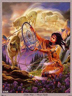 Девушка-индеец и волки. - анимация на телефон №1409616