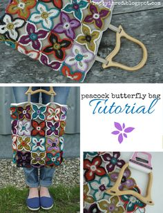 Happy in Red: Crochet and sewing tutorial, peacock butterfly bag