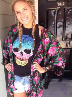 Kimono & skull shirt --- love the mix!