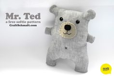 Mr. Ted Softie Plush Tutorial free pattern.  Love belly button.