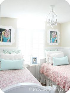 Small shared bedroom - Beautiful! I don't care how many rooms we have in our house. My kids will share a bedroom. What special memories and bonding time will be made!