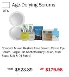 Compact Mirror, Restore Face Serum, Revive Eye Serum, Single Use Sachets (Body Lotion, Mud Soap, Salt & Oil Scrub)