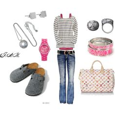 a touch of casual pink, created by jayneann1809.polyvore.com