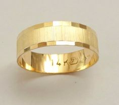 Gold  wedding band men wedding ring 6mm wide ring for by havalazar, $285.00
