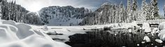 Lake 22 on a sunny day after a snow fall. Granite Falls WA [OC] [5000 x 1426]