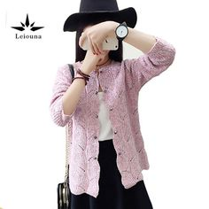 Leiouna Pink O-neck Knitted Cardigan Double Breasted Small Cape Loose