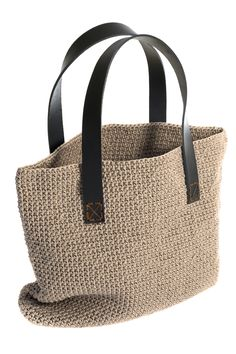 Hand,ade NOEL by epsilon XL shopping bag - COD.1969XL - BEIGE !! 100% handmade crochet bag, seamless, leather handles , unique creation number !!!