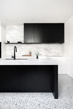 INSPIRATION: bring calm and cool factor to this Prahran home, blending soft Elba stone bench tops and punchy terrazzo with black stained oak cabinetry. Interior Desing, Contemporary Interior Design, Interior Design Kitchen, Design Bathroom, Modern Interior, Terrazzo, Home Design, Küchen Design, Design Trends