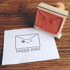Kawaii Happy Mail Wood Mount stamp
