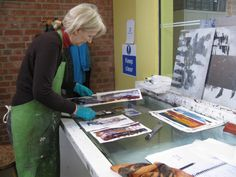 Sue Williams in her printmaking studio. Sue's work can be seen in the In a Landscape exhibition at Harbour House, June 2016