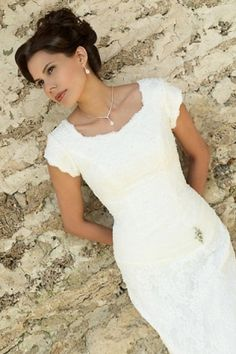 Alluring Sqaure,Capped Sleeves and Sheath Wedding Dresses