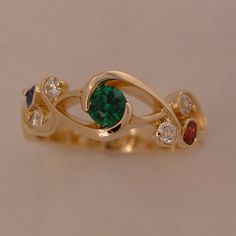 Yellow Gold Emerald, Diamond, Ruby and Sapphire Whitewater Ring Jewelry Design Earrings, Gold Earrings Designs, Gold Jewellery Design, Jewellery Rings, Latest Gold Ring Designs, Sterling Silver Wedding Rings, Emerald Diamond, Sapphire, Diamond Rings