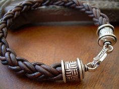 Mens Natural Antique Brown Braid Leather Bracelet with Sterling Silver Plate Clip Closure Clasp, Mens Jewelry, Mens Bracelet, Mens Gift via Etsy