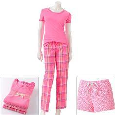 SONOMA life + style 3-pc. Plaid Knit and Poplin Pajama Gift Set
