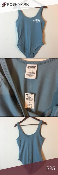 NWT VS Pink Squad Bodysuit Size Large NWT VS Pink Squad Bodysuit Size Large- Blue with white writing- 3 Button snap closure- 95% cotton and 5% elastase Victoria's Secret Tops