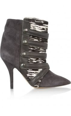 Isabel Marant Tacy Suede Printed Calf Hair And Leather Boots