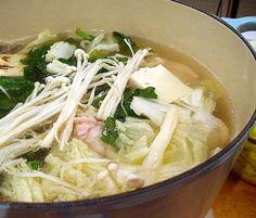 Japanese Chicken and Vegetable Tabletop Hot Pot seaweed 12 oz boneless chicken firm tofu napa cabbage spinach mushrooms leek udon noodles soy sauce Nabe Recipe, Pot Recipe, Japanese Chicken, Asian Recipes, Ethnic Recipes, Soup Kitchen, Chicken And Vegetables, Veggies, Cooking Together