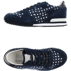 Diadora Heritage By The Editor Sneakers featuring polyvore, women's fashion, shoes, sneakers, dark blue, diadora shoes, polka dot shoes, leather shoes, genuine leather shoes and flat shoes