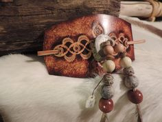 Handmade leather barrette Deer Antler Primative beads feathers by RoundOakLeather on Etsy