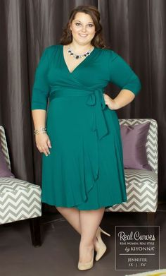 Real Curve Cutie Jennifer is on trend in our plus size Winona Hi-Lo Wrap… Plus Size Party Dresses, Plus Size Outfits, Curvy Fashion, Plus Size Fashion, Club Fashion, 1950s Fashion, Xl Mode, Casual Dresses, Fashion Dresses
