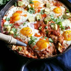 Layer upon layer of breakfast goodness! Baked polenta topped with creamy refried beans, salsa, cheese and eggs. Healthy & filling! #eggrecipe #polenta #highprotein #healthybreakfast Cereal Recipes, Egg Recipes, Brunch Recipes, Breakfast Recipes, Cooking Recipes, Easter Recipes, 400 Calorie Breakfast, Brunch Foods, Cooking Food
