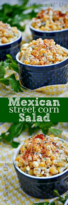 Frugal Food Items - How To Prepare Dinner And Luxuriate In Delightful Meals Without Having Shelling Out A Fortune A Beautiful Blend Of Sweet And Spicy, This Mexican Street Corn Salad Is Made Off Of The Cob And Finished Off With A Dash Of Smoky, To Make It Mexican Food Recipes, New Recipes, Vegetarian Recipes, Cooking Recipes, Recipies, Sweet Corn Recipes, Easy Recipes, Recipe For Mexican Dishes, Vegetarian Mexican Food