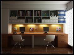 home office | Proposta moderna que contempla vários nichos e gavetas, para guardar ...