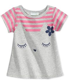 First Impressions Play Baby Girls' Striped Kitty Tee