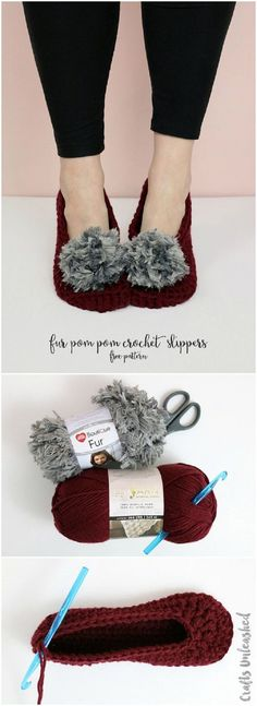 Fur Pom Pom Crochet Slippers Pattern - 15 Easy and Free Crochet Patterns to Stay Warm This Winter