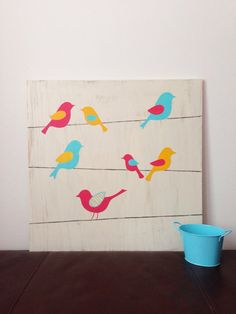Large hand painted Birds on a Wire Wall Art, Bird Nursery Decor, Aqua and Coral, Girls Wall Art, Birds on a a Wire, Rustic Wall Art Want to do this, but on canvas and use fabrics from nursery for the birds