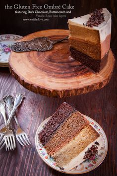 Gluten Free Cake Recipe featuring dark chocolate, butterscotch and vanilla bean ombre cake. gorgeous! by Irvin Lin of Eat the Love   www.eatthelove.com   #glutenfree #cake #recipe