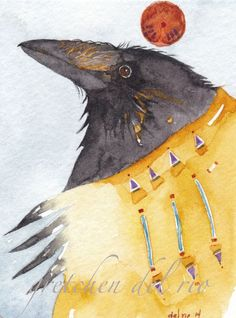 ACEO ORIGINAL watercolor painting Del Rio 'GRANDFATHER RAVEN' spirit totem bird #MiniatureACEOArtCard  Each morning when I walk with my dogs ravens call and swoop above us. The dogs never bother with them unless they happen to see one of the large birds on the ground. Then there ensues a wild chase that the dogs will never win because they cannot fly.