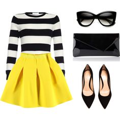 """Black and yellow"" by bellesandbows on Polyvore"