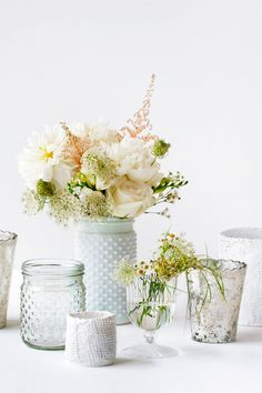 Hobnail jars with fresh flowers