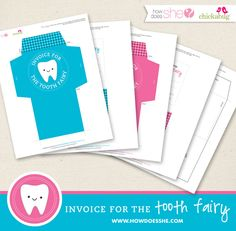 Jayson Conway - maybe you can find something here for your page - FREE and adorable Tooth Fairy Printables! Includes an envelope for your child and notes to record all the teeth as they go missing over the years. What a fun keepsake! Printable Invoice, Tooth Fairy Pillow, Craft Activities, Preschool Ideas, Kids Playing, Cute Kids, Free Printables, Crafts For Kids, Prints
