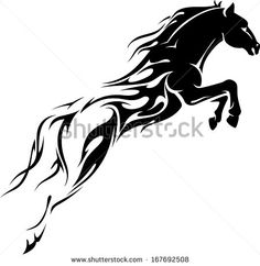 pheonix face drawing | Flame Trail Horse Showing Speed Power Stock Vector 167692508 ...