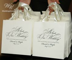 30 Wedding Welcome Bags for guests with satin ribbon and your
