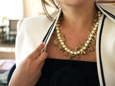 Switch up a plain pearl necklace and transform it into this Pearl DIY Safety Pin Necklace!