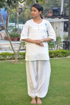 056f5d4e463a25 How about some window shopping  Khadi cotton white yoga top ...