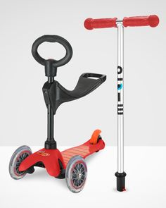 Mini Micro 3in1 Scooter Red with Seat and O-Bar Handle   Micro Scooters