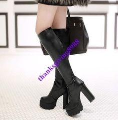 Womens Faux Leather Block High Heel Knee High Boots Platform Pull On Shoes size | eBay