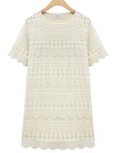 White Short Sleeve Hollow Lace Dress - Sheinside.com