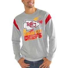 Kansas City Chiefs G-III Sports by Carl Banks Wide Receiver Long Sleeve T-Shirt – Heathered Gray/Red