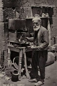 Coffee seller Damascus late c Syria Pictures, Old Pictures, Old Photos, Syria Before And After, Istanbul, Palmyra Syria, Syria Flag, War Photography, Historical Pictures