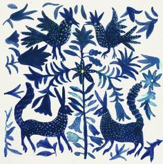 An ethnic blue otomi pattern.